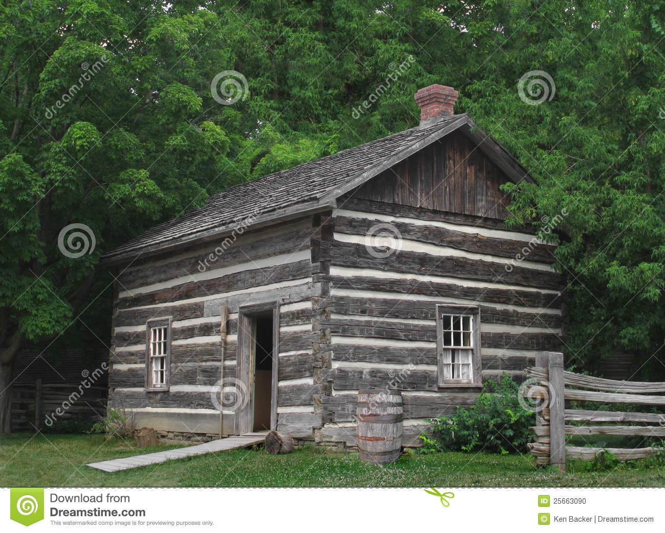 Small Log Cabin In The Trees Stock Photo Image Of