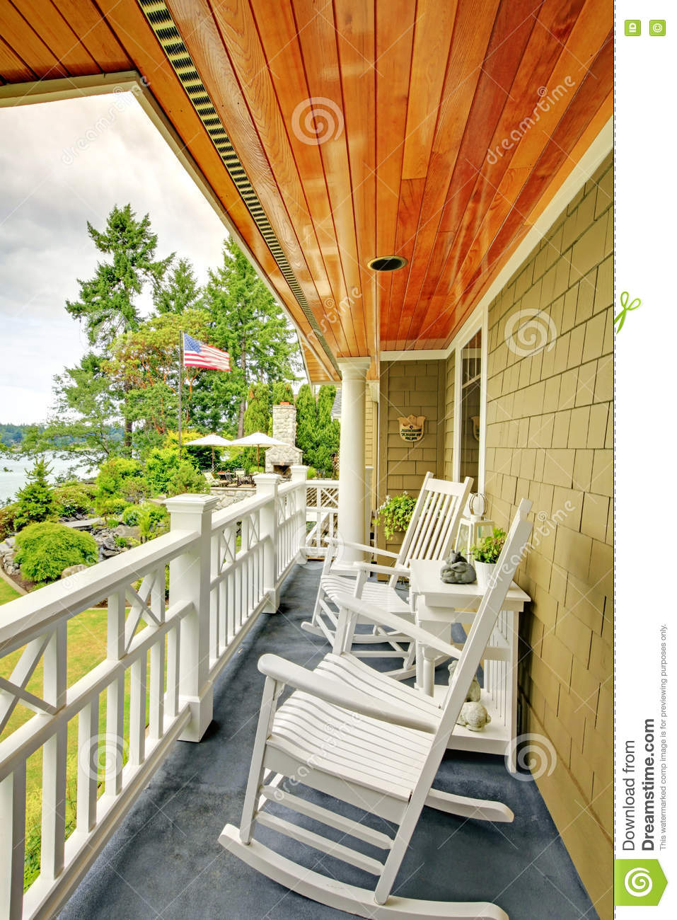 Small Long Balcony Home Exterior With Rocking Chairs And