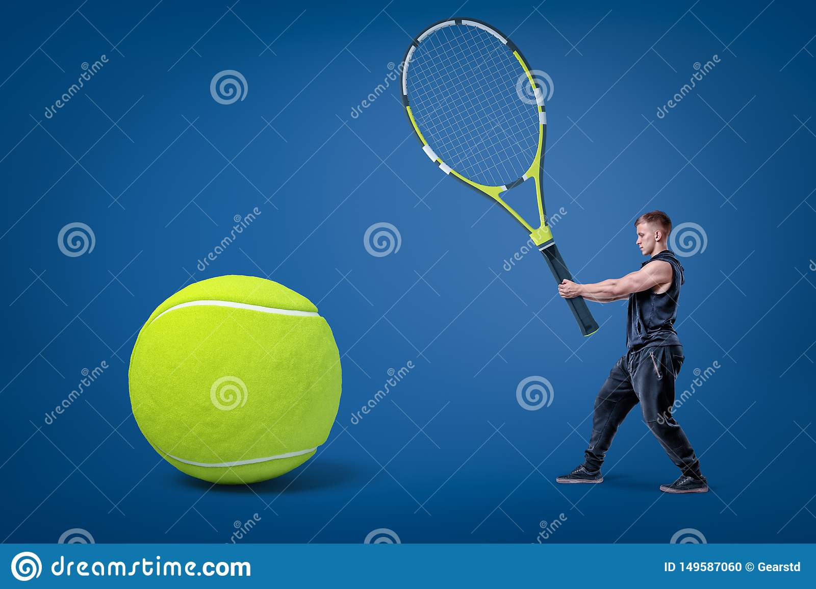 6f87e1734567 Small Man In Black Sport Clothes Holding Big Tennis Racket In Hands ...