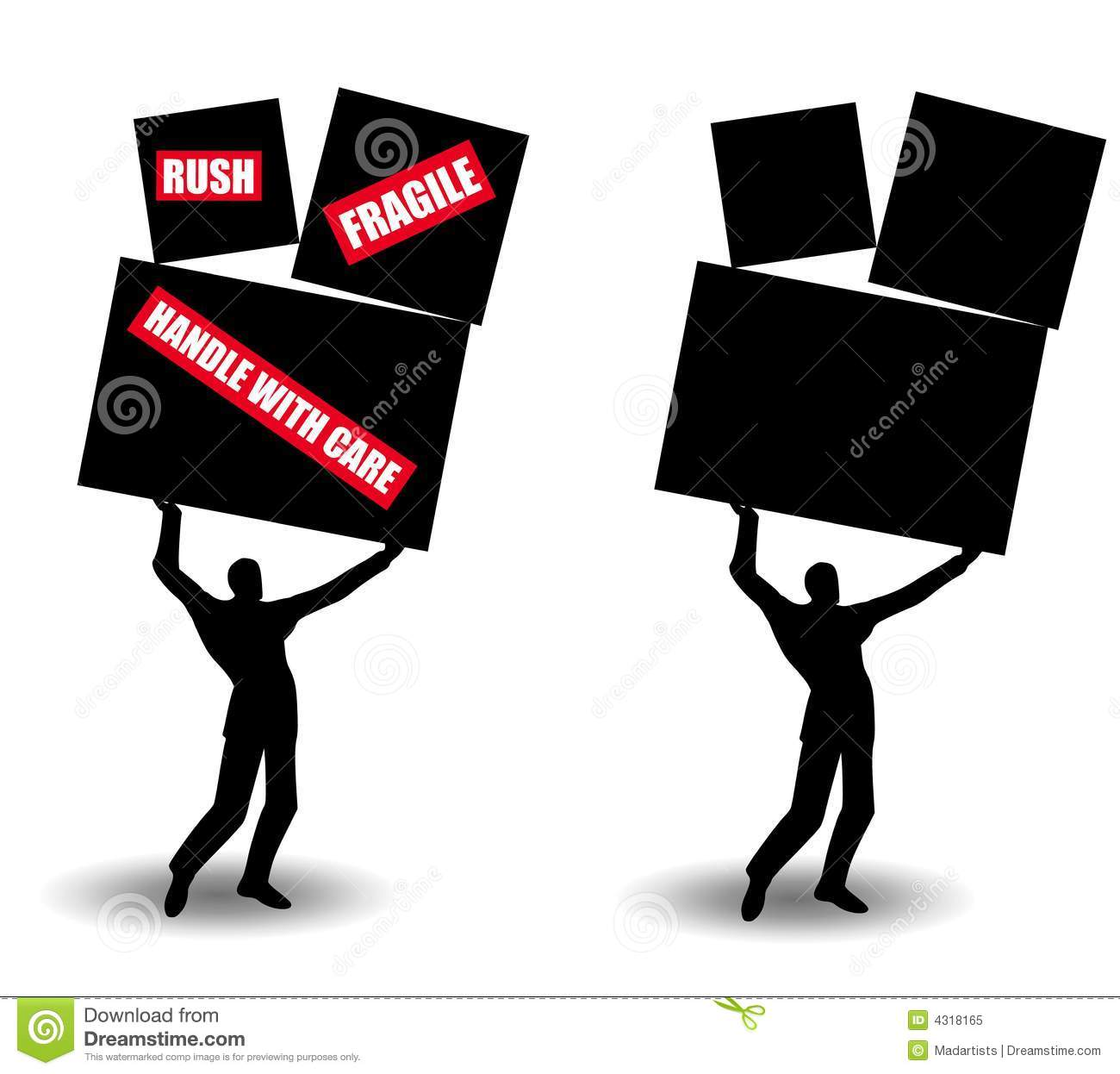 Small Man Shipping Large Boxes Stock Illustration Image