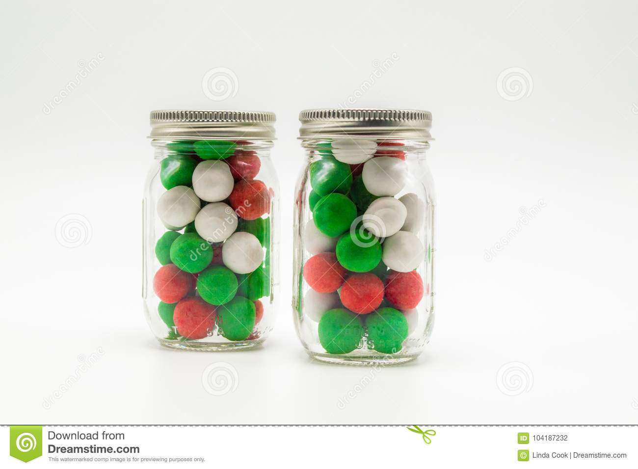 download 2 small mason jars filled with christmas candy stock photo image of color