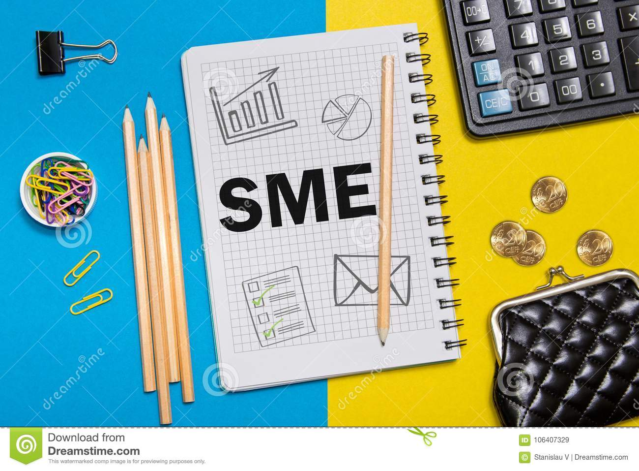 Small and Medium Enterprise, SME notes in the notebook on the Desk of a businessman in office. Business concept SME