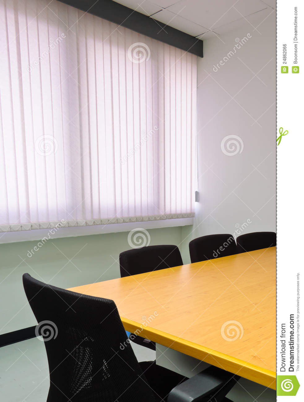 Small meeting room against window blinds