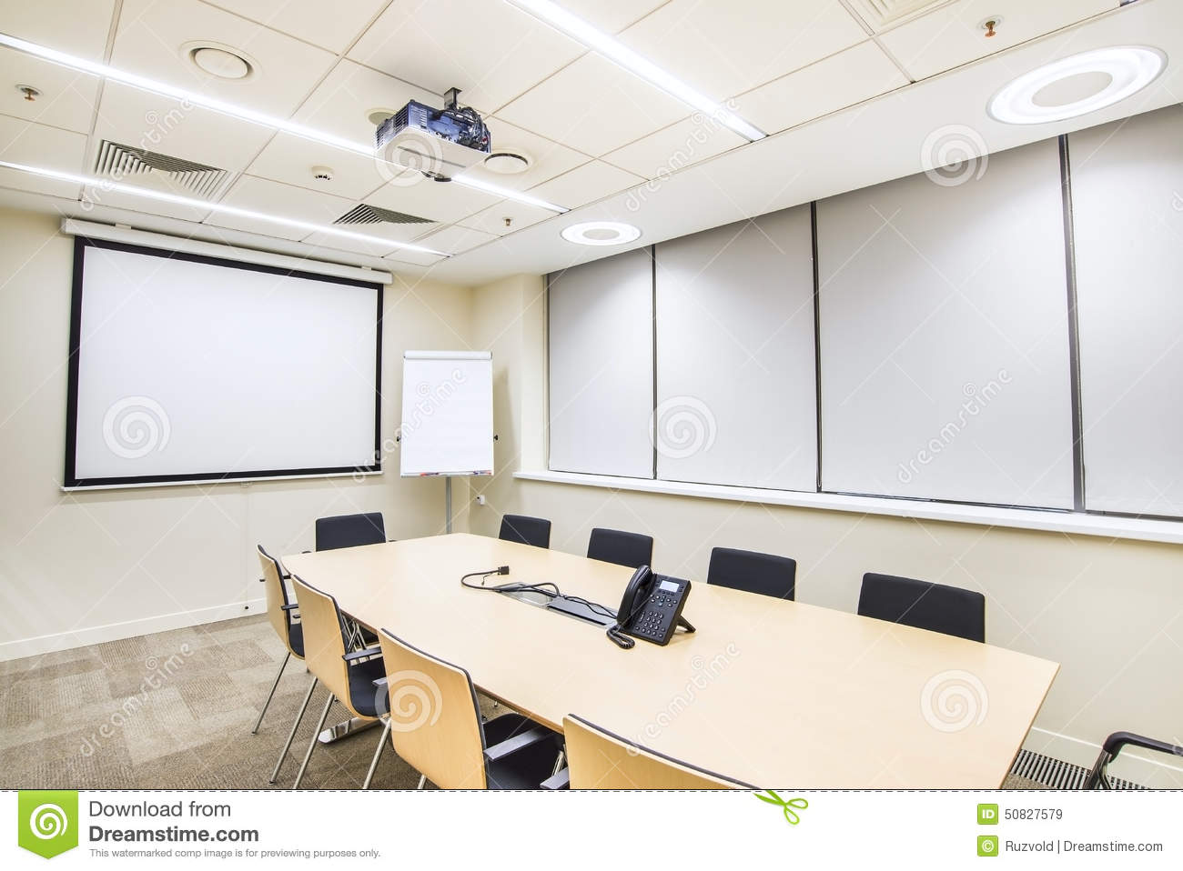 Modern Classroom Projector ~ Small meeting or training room with tv projector stock