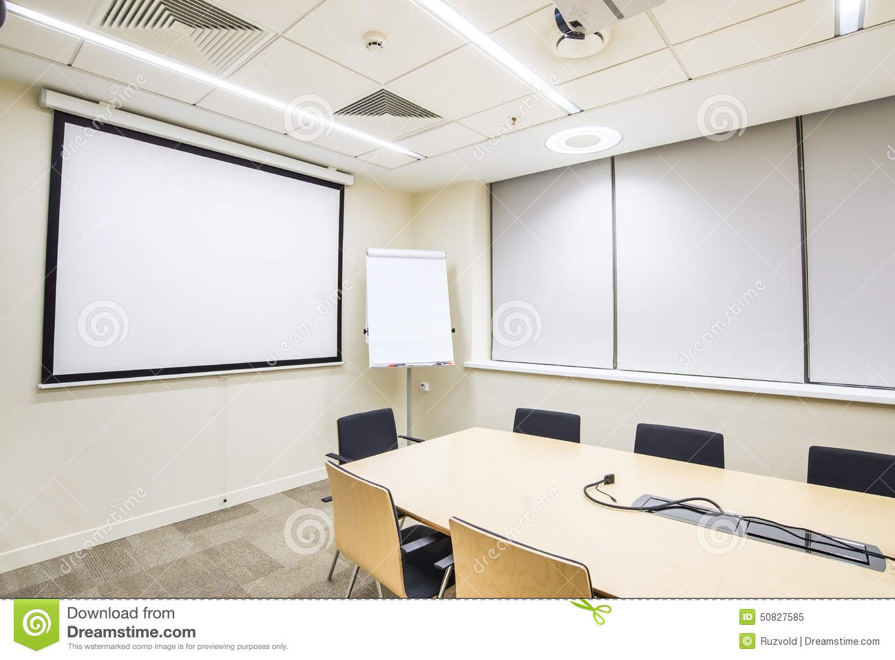 Modern Classroom Certified Trainer ~ Small meeting or training room with tv projector stock