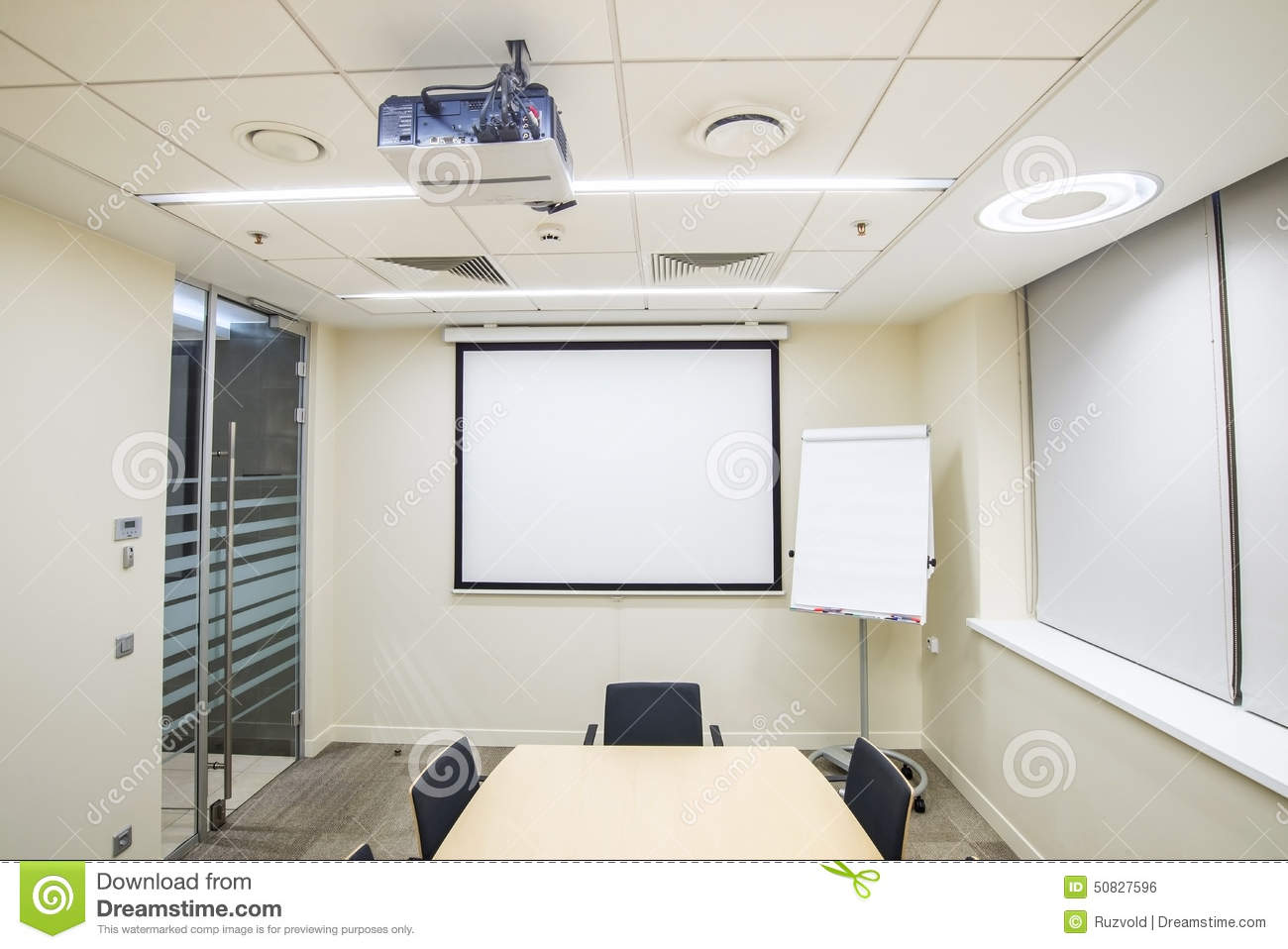 Small meeting or training room with tv projector stock for Small tv projector