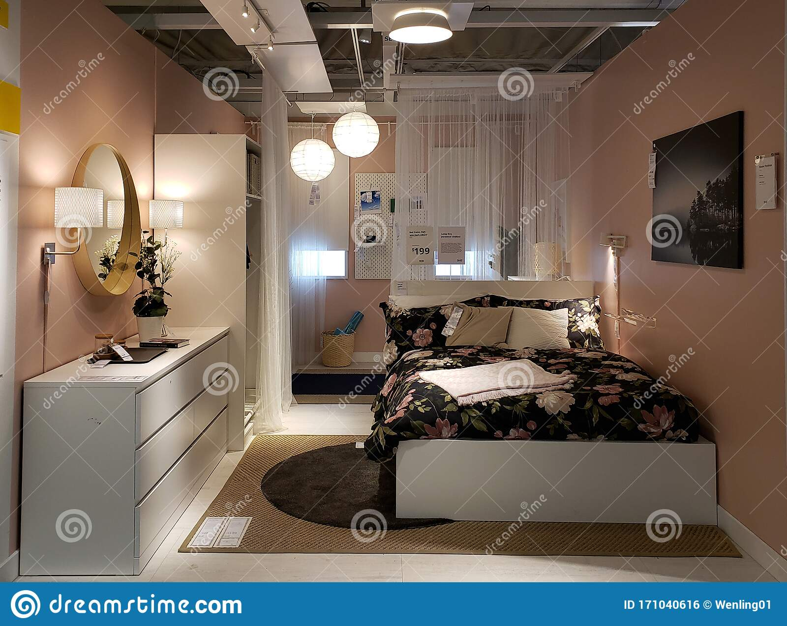 Small Modern Bedroom Design At IKEA Editorial Photo - Image of