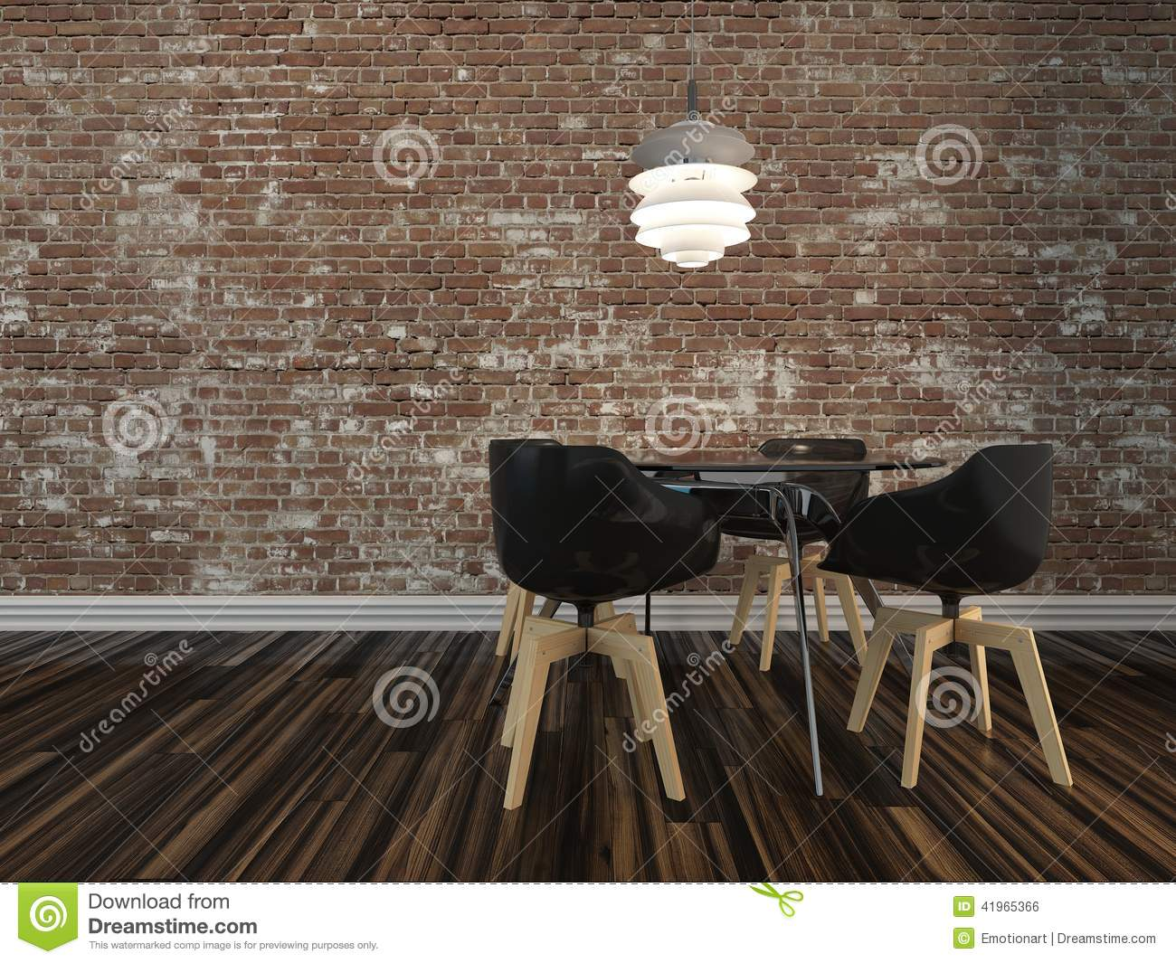 Small Modern Dining Table With Rustic Brick Wall Stock Illustration Image 41965366