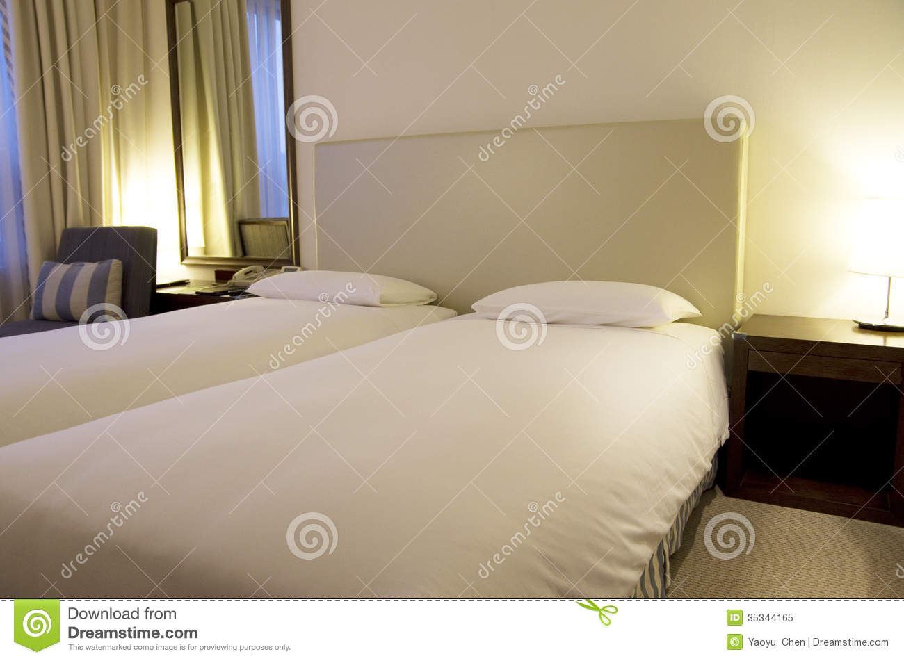 Small Modern Hotel Room Beds Stock Image Image Of Lamp