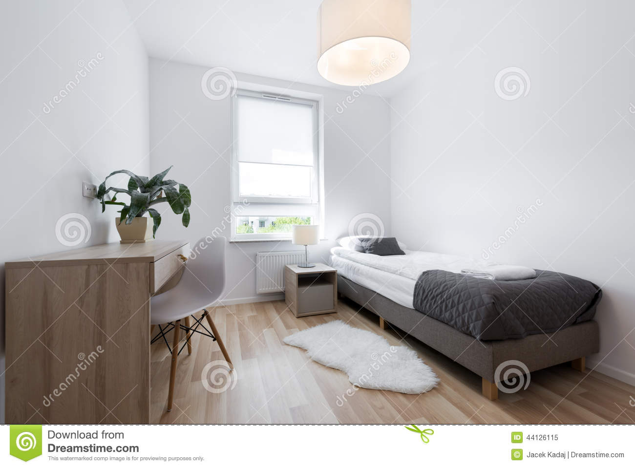 Small modern sleeping room interior design stock image for Sleeping room decoration