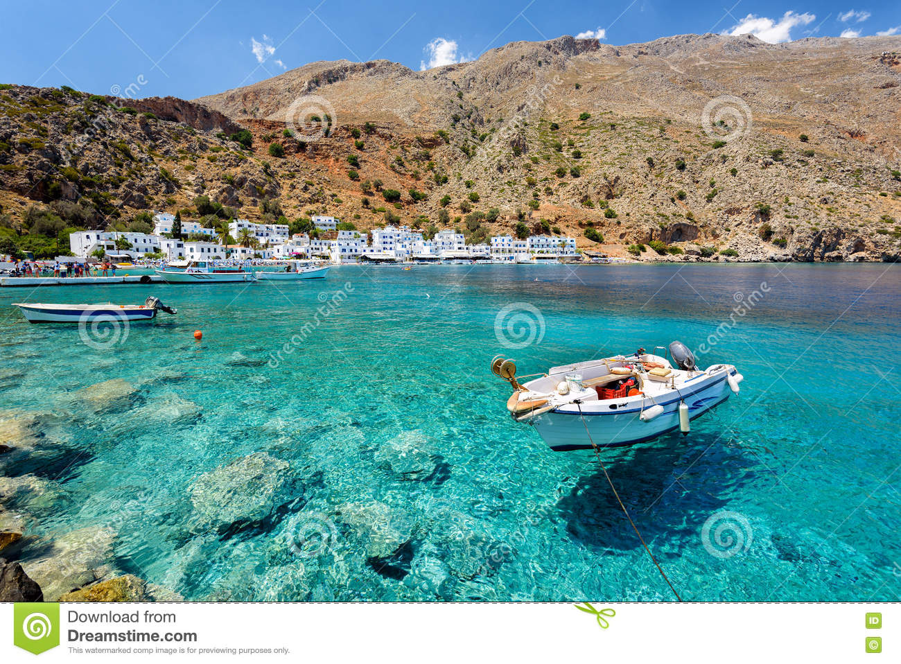 Small Motorboat At Clear Water Bay Of Loutro Town On Crete
