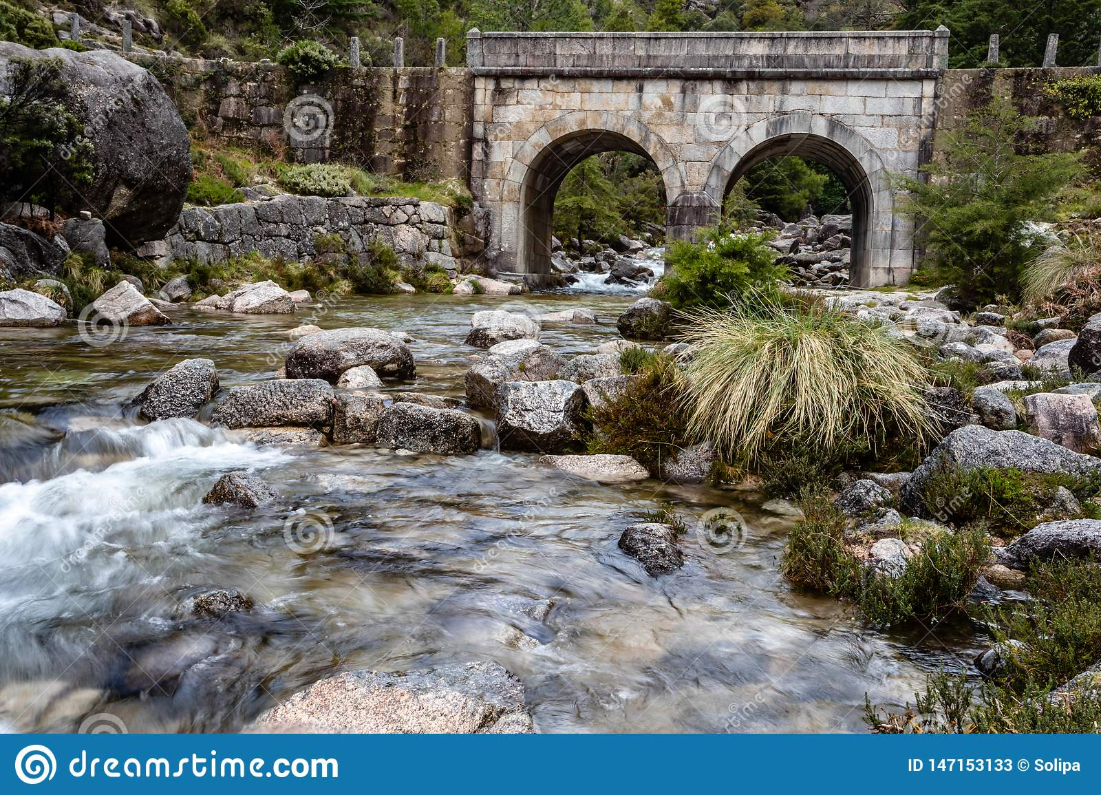 Small mountain bridge over a creek from the Peneda Geres National Park, north of Portugal