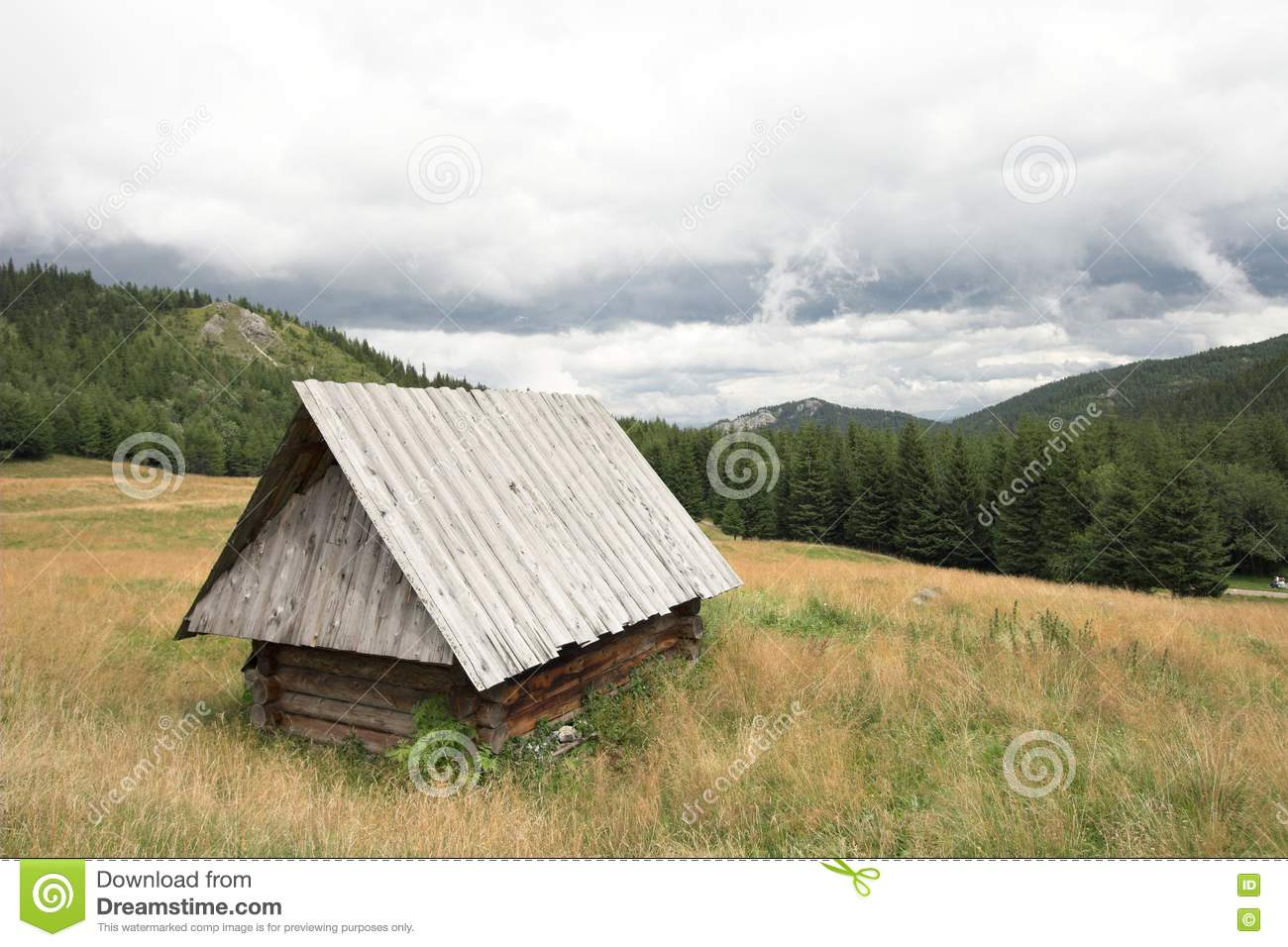 wooden hut near mountain - photo #9