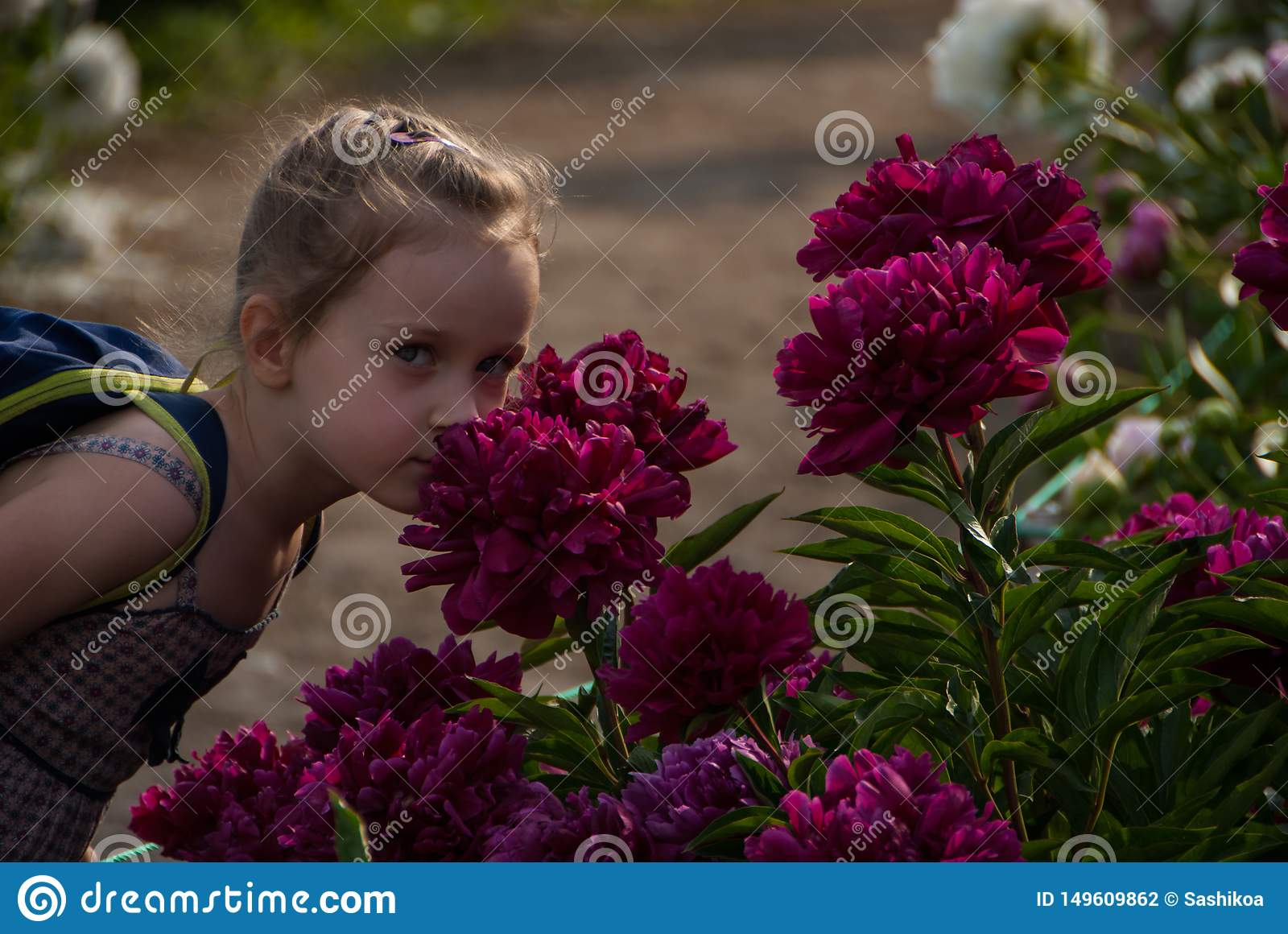 Small nice girl with beautiful eyes smelling peony flowers in park