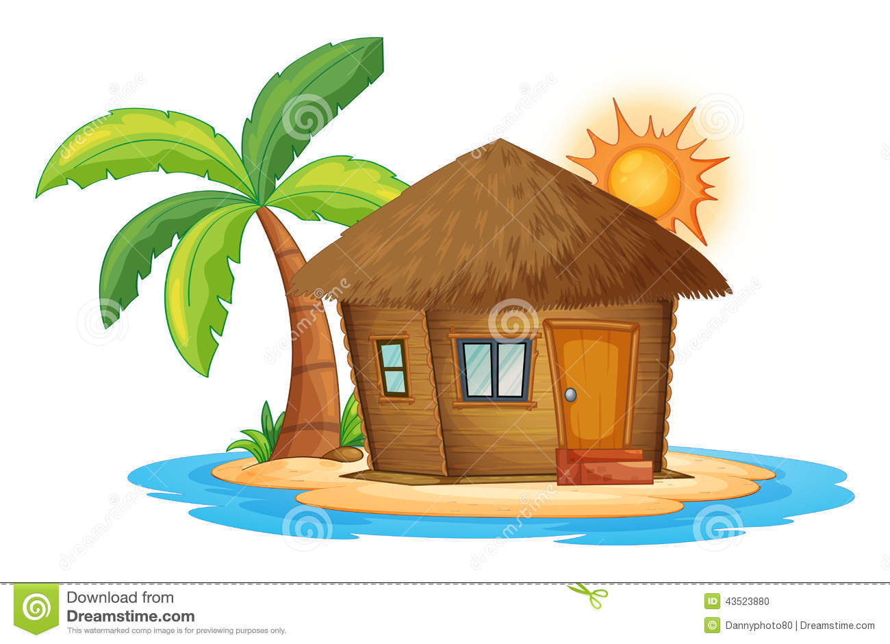 small nipa hut island illustration white background 43523880