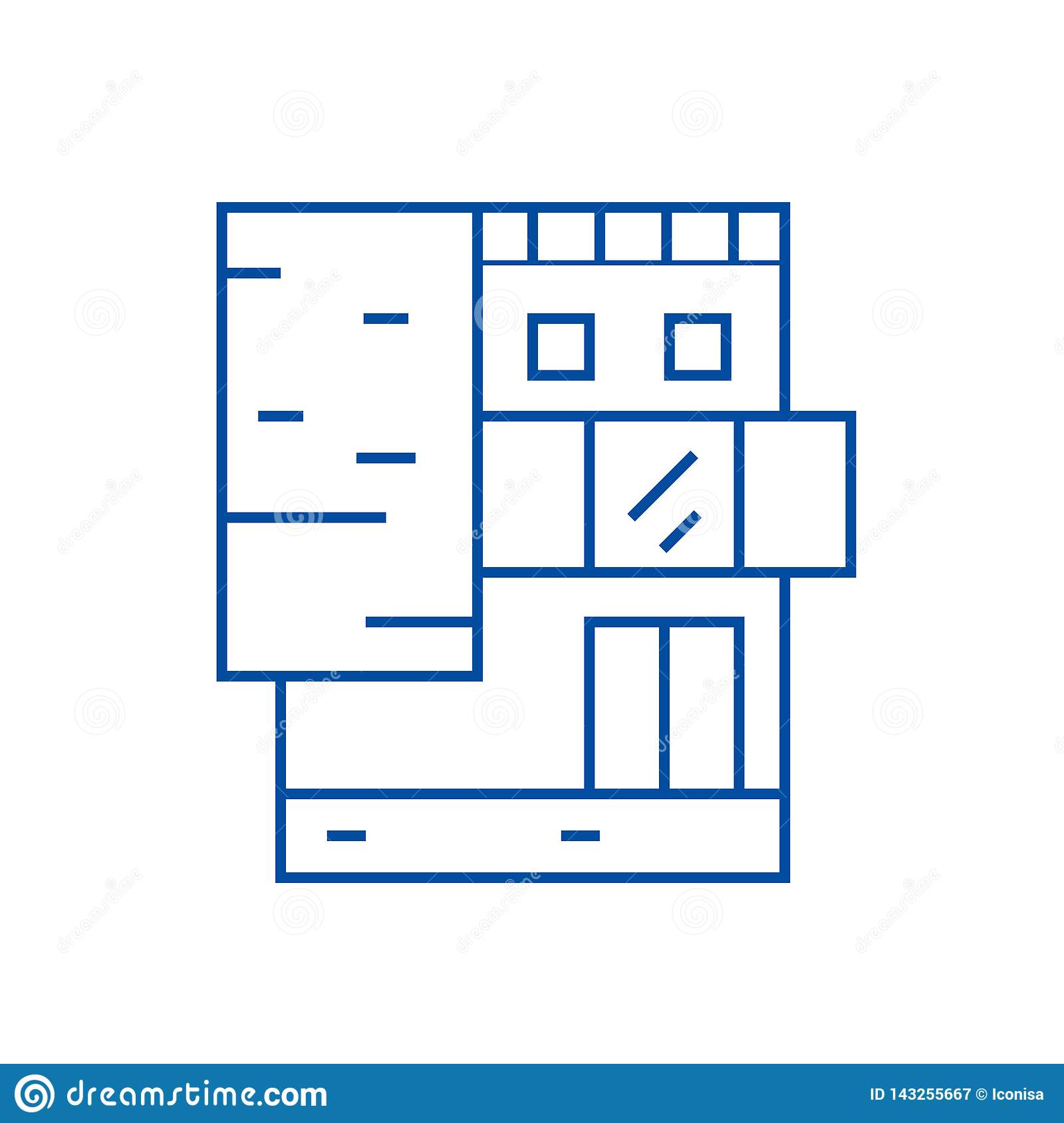 Small office building line icon concept. Small office building flat vector symbol, sign, outline illustration.