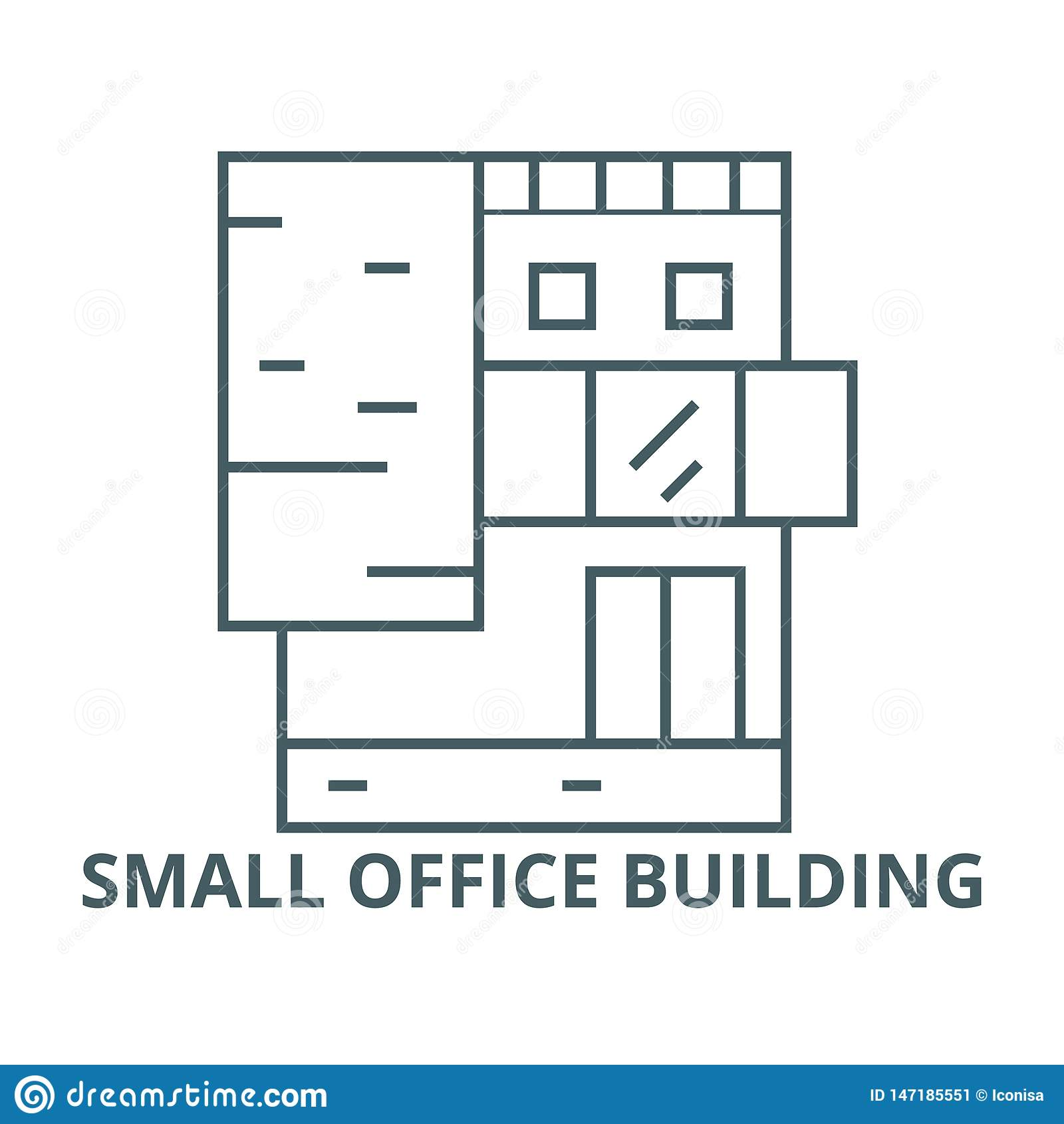 Small office building vector line icon, linear concept, outline sign, symbol