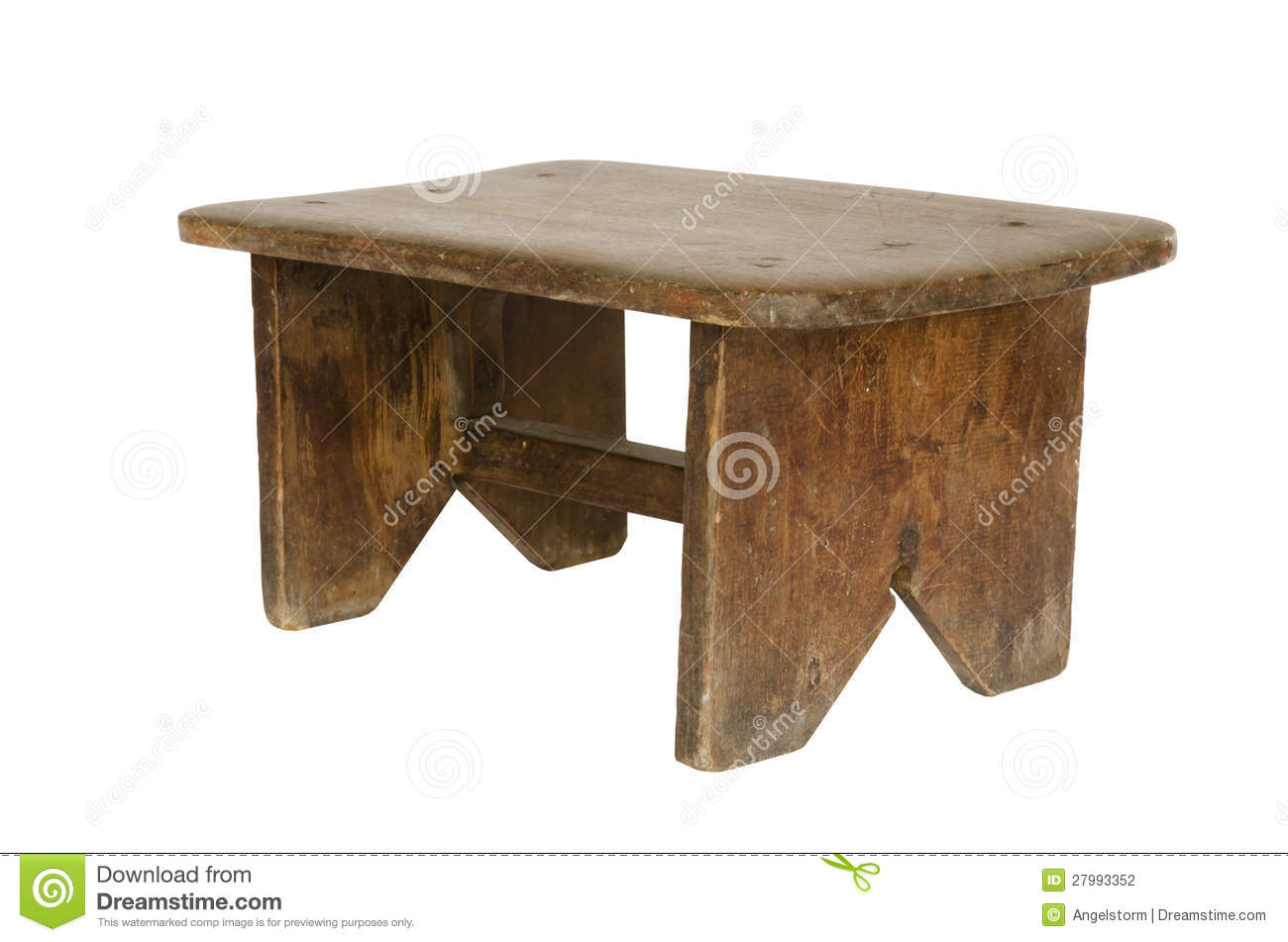 Small Old Wooden Bench Isolated Stock Photography Image