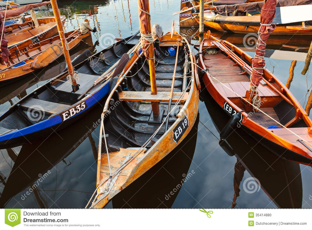 Small Old Wooden Fishing Boats In The Netherlands Stock Photo - Image: 35414880