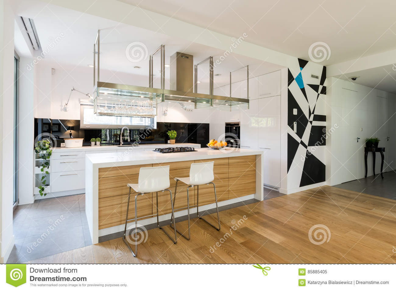 Keuken Modern Open : Small open kitchen with cabinets stock image image of interior