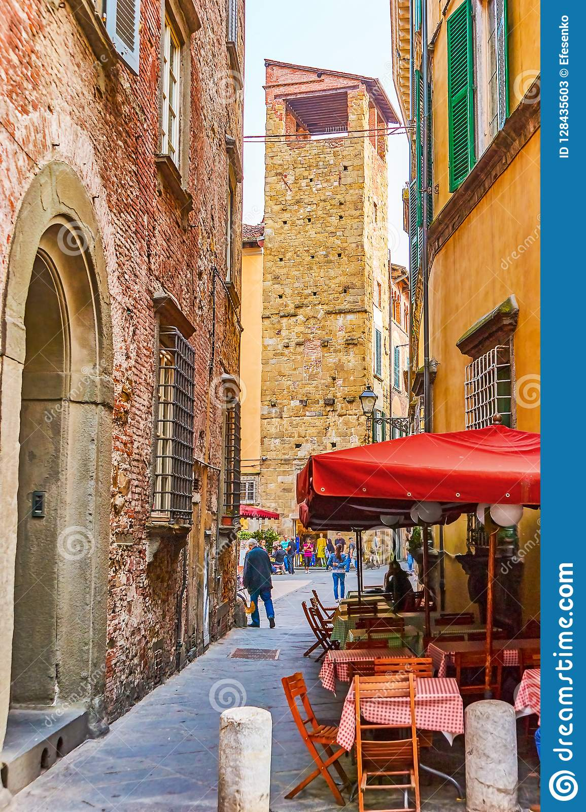 The Small Outdoor Cafe In Lucca Italy Editorial Stock Photo Image Of Restaurant Outdoor 128435603