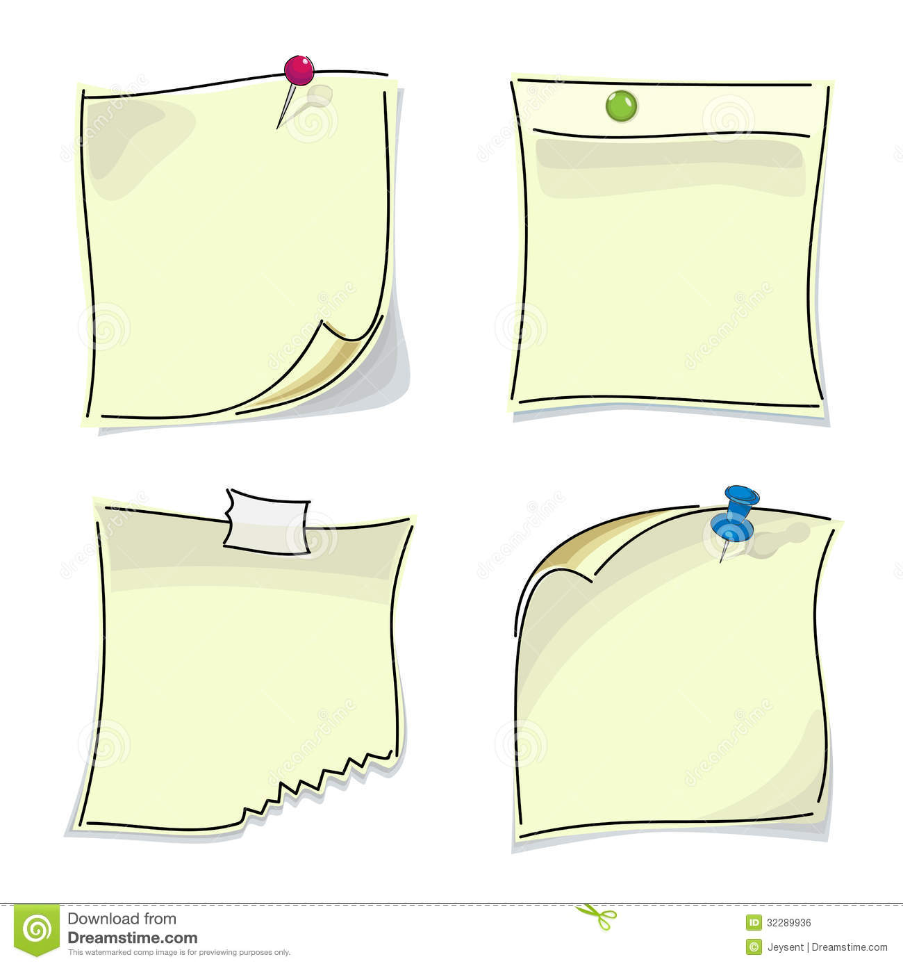 Royalty Free Stock Image Small Paper Sticky Notes Pinned Buttons Attached To Wall Multi Colored Image32289936 on Latest Letter Writing Paper