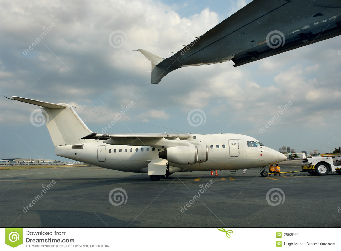 Small parked jet airliner