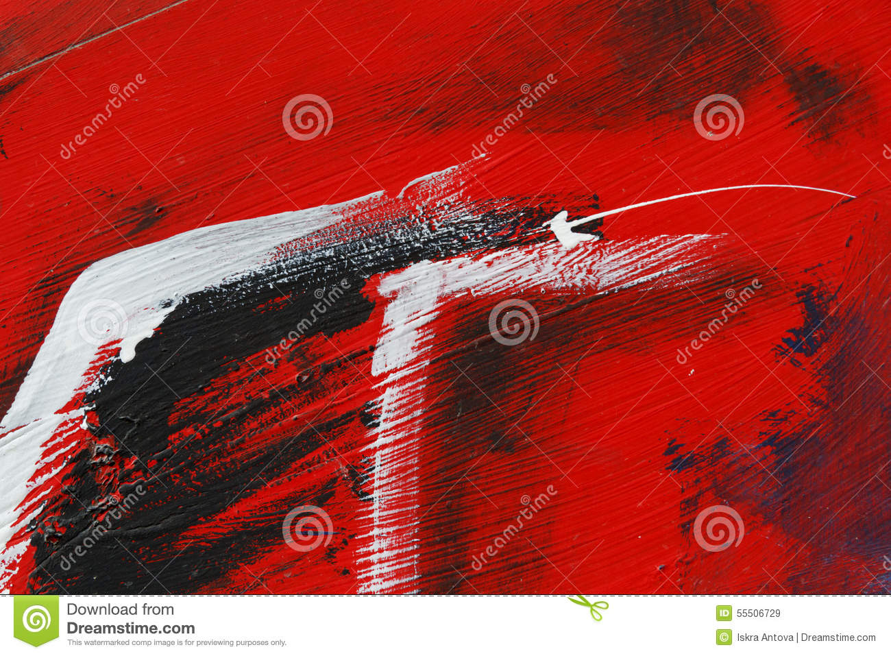 Download Small Part Of Painted Metal Wall With Black,red And White Paint  Stock Image