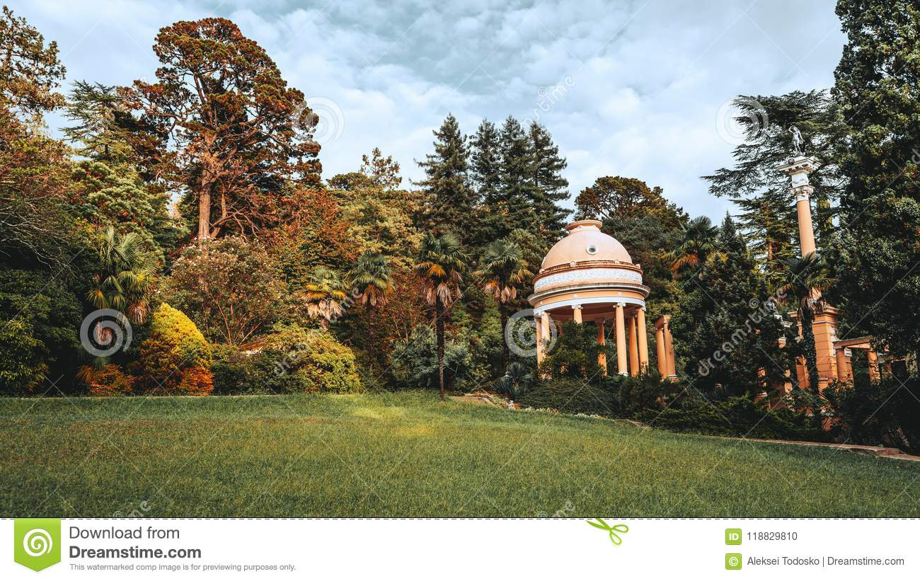 Small Pavilion With Columns Outdoors In A Huge Summer Garden Stock ...