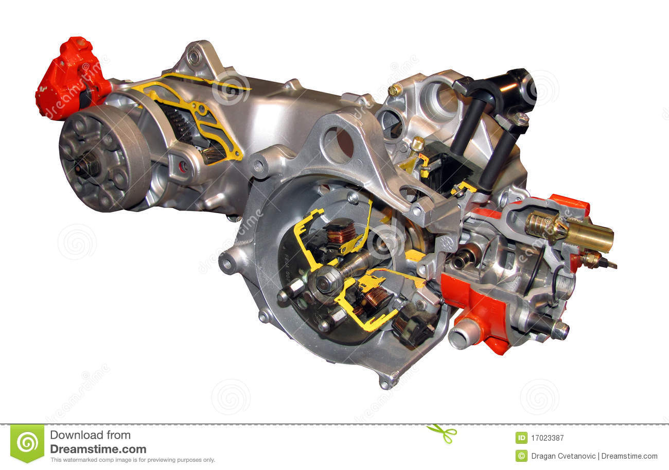 Small Petrol Engine Cutout, Motor Bike 50cc Stock Image