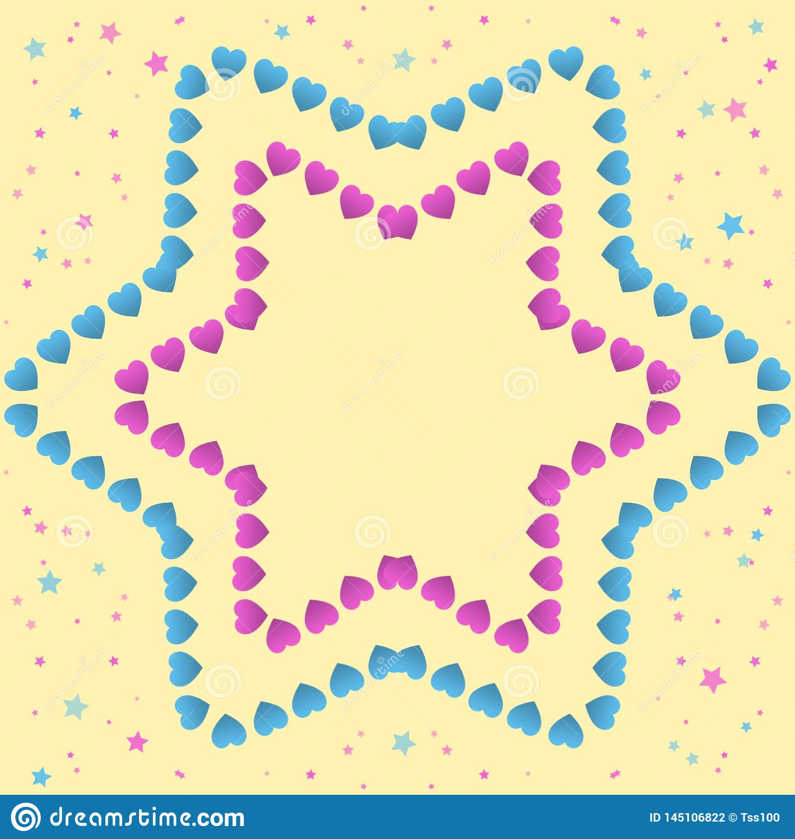 Small pink and blue hearts forming a star on a yellow background with small stars, hand drawn illustration with pastel colors