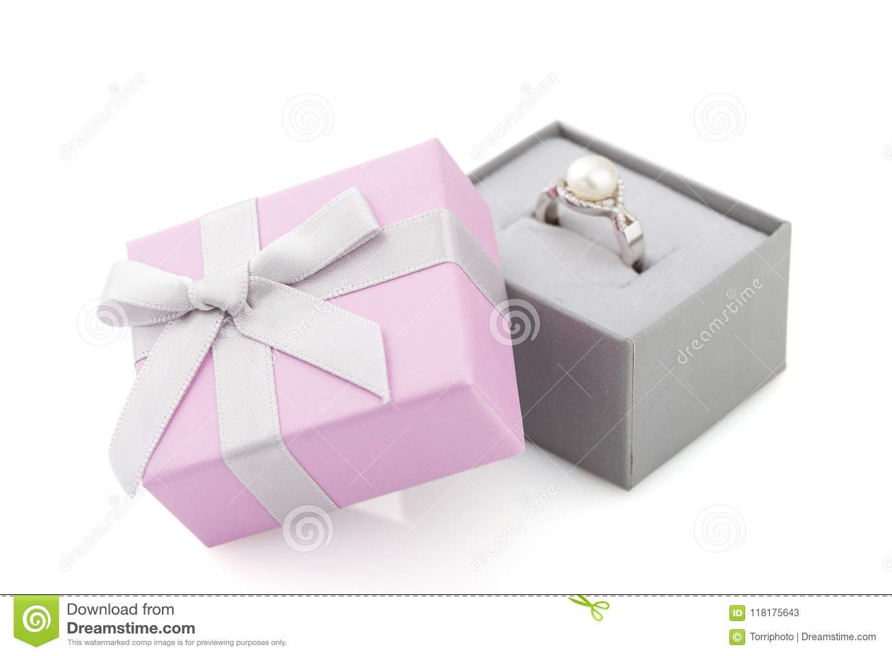 Small Pink And Gray Jewelry Gift Box With Bow Isolated On White