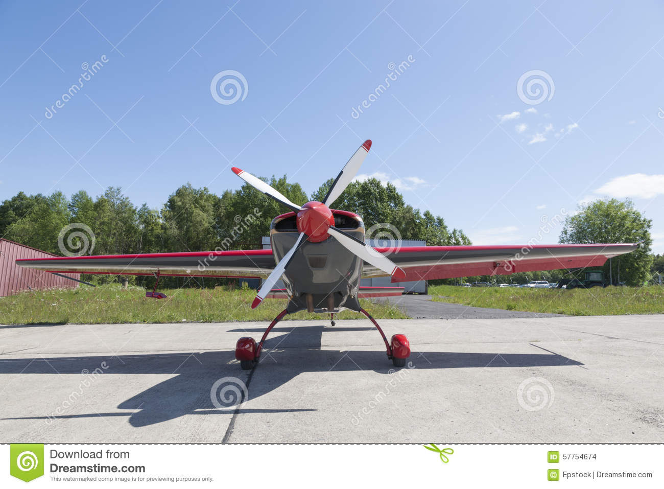 Small Plane With Central Propeller Stock Photo Image