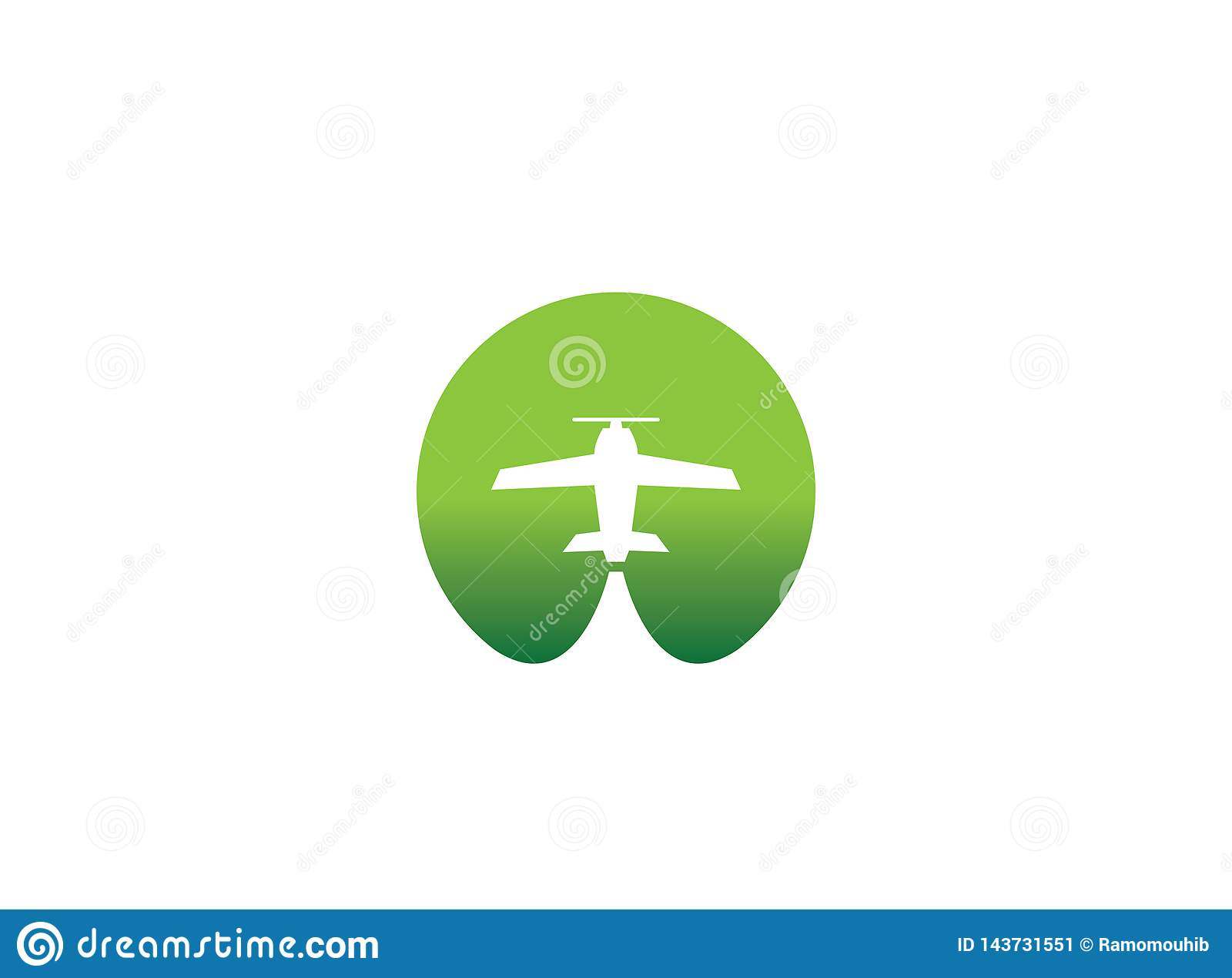 Small plane travel agency logo design idea with an airplane across the green circle negative space. Amazing destinations creative