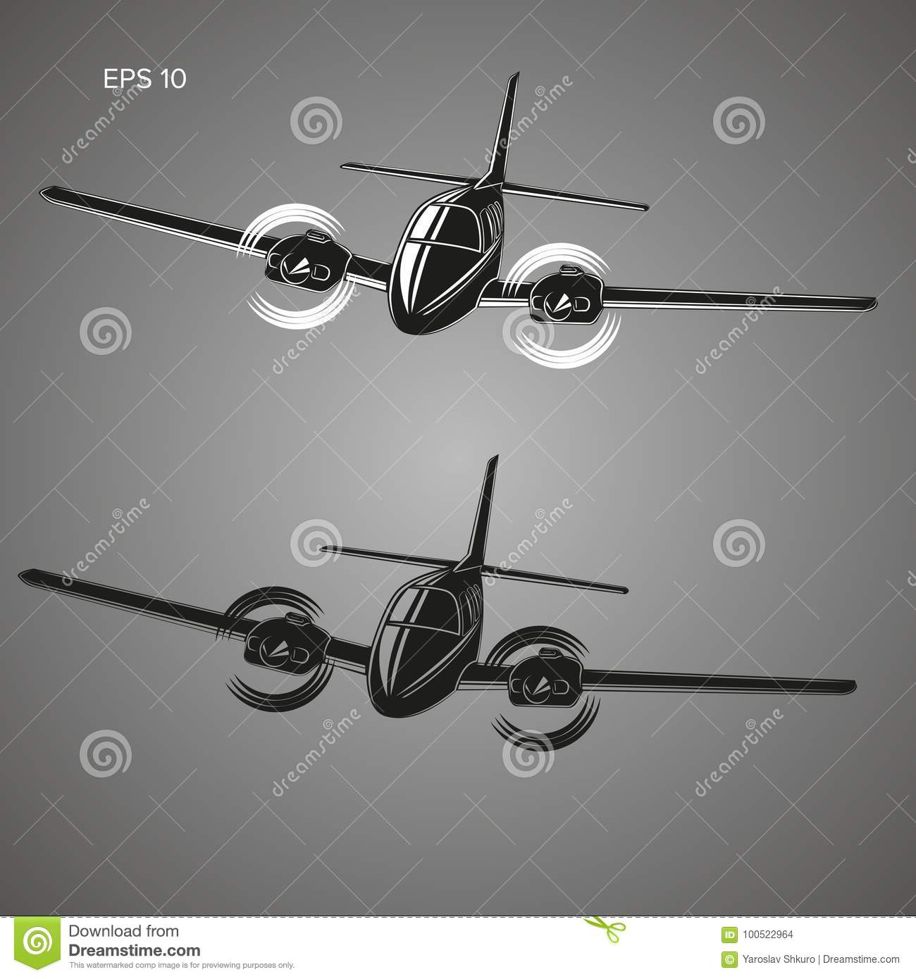 Download Small Plane Vector Illustration. Twin Engine Propelled Aircraft. Business Trip Aircraft. Stock Vector - Illustration of background, vector: 100522964