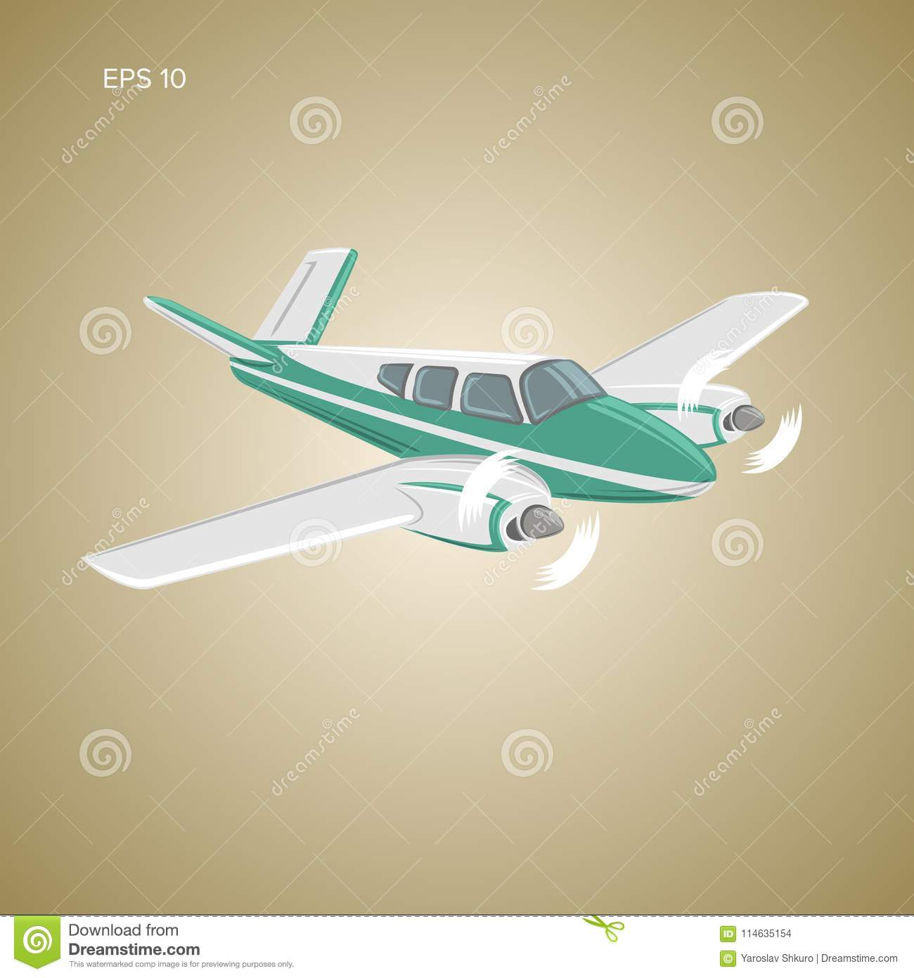 Small plane vector illustration. Twin engine propelled passenger aircraft.