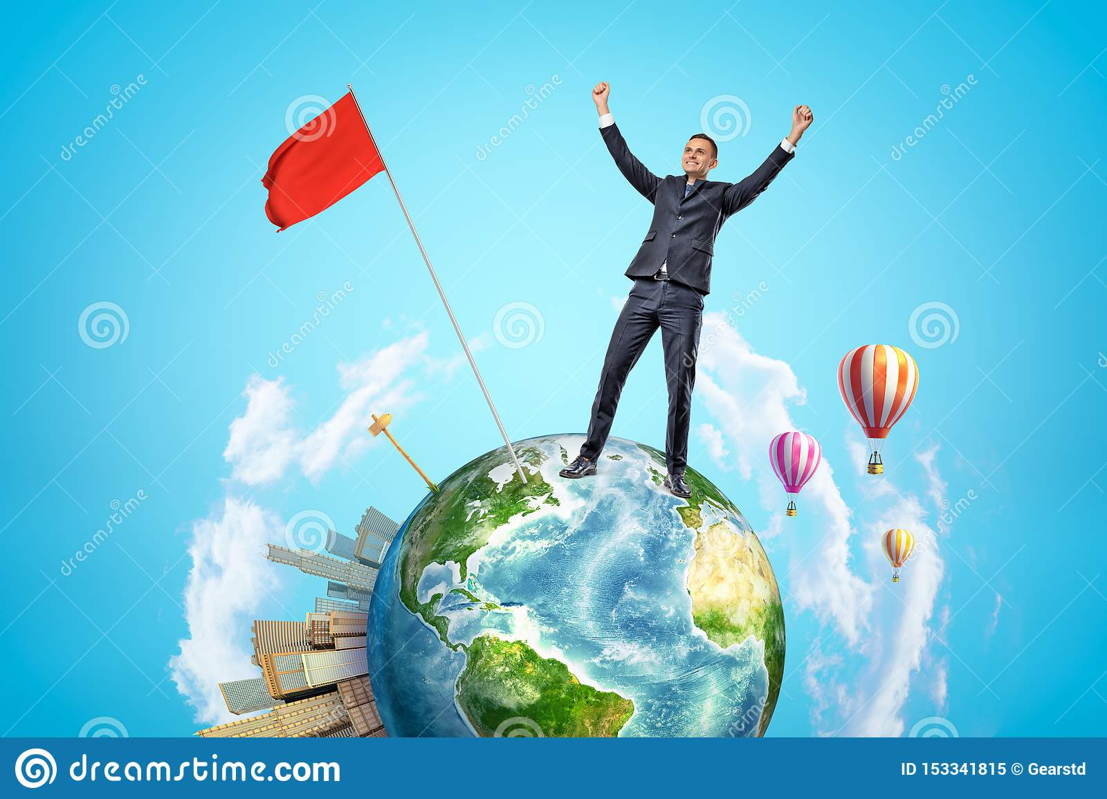 Small planet Earth with modern city popping up on one side and hot-air balloons flying in sky, and happy businessman who