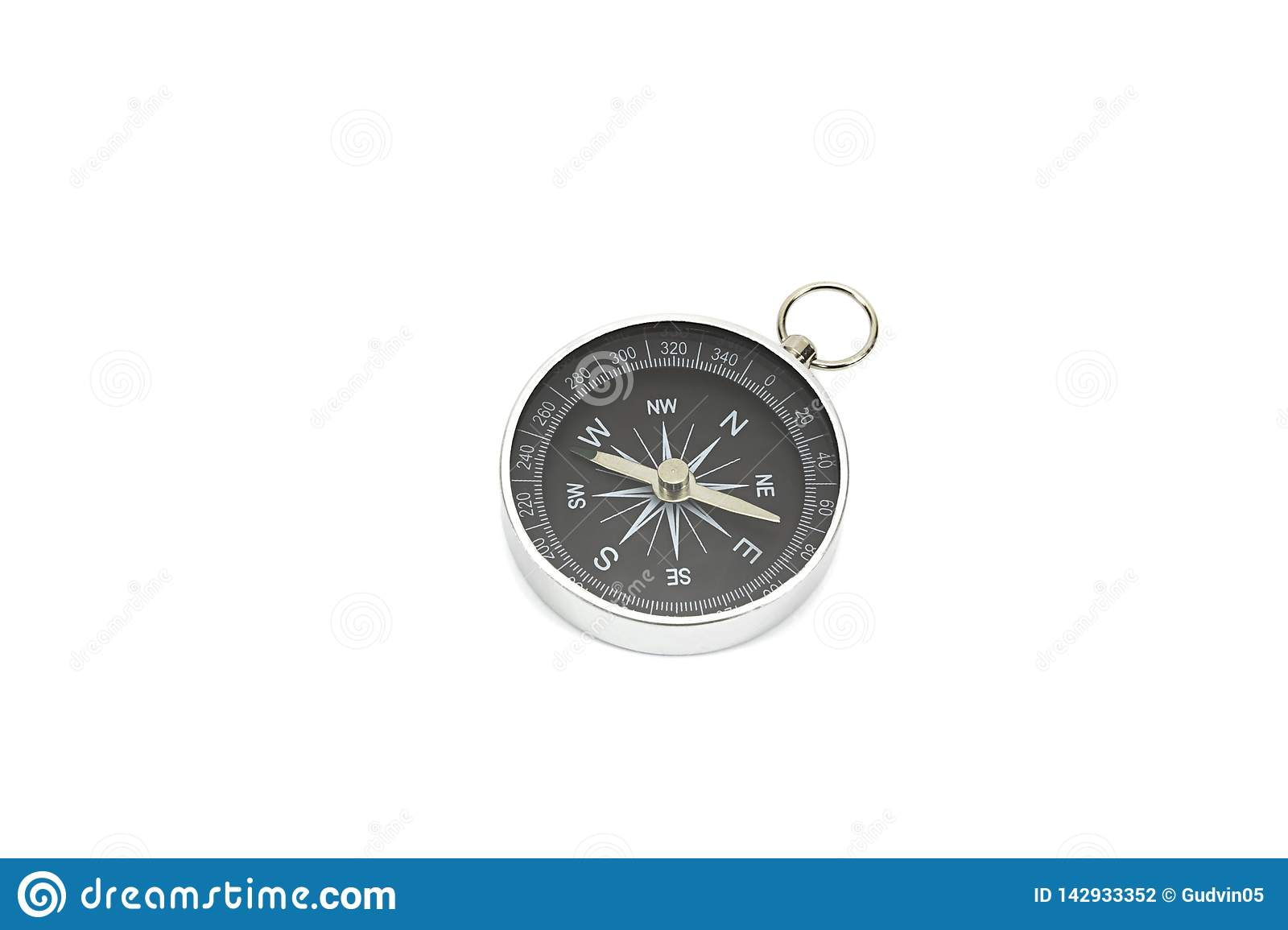 Small pocket compass isolated on white background