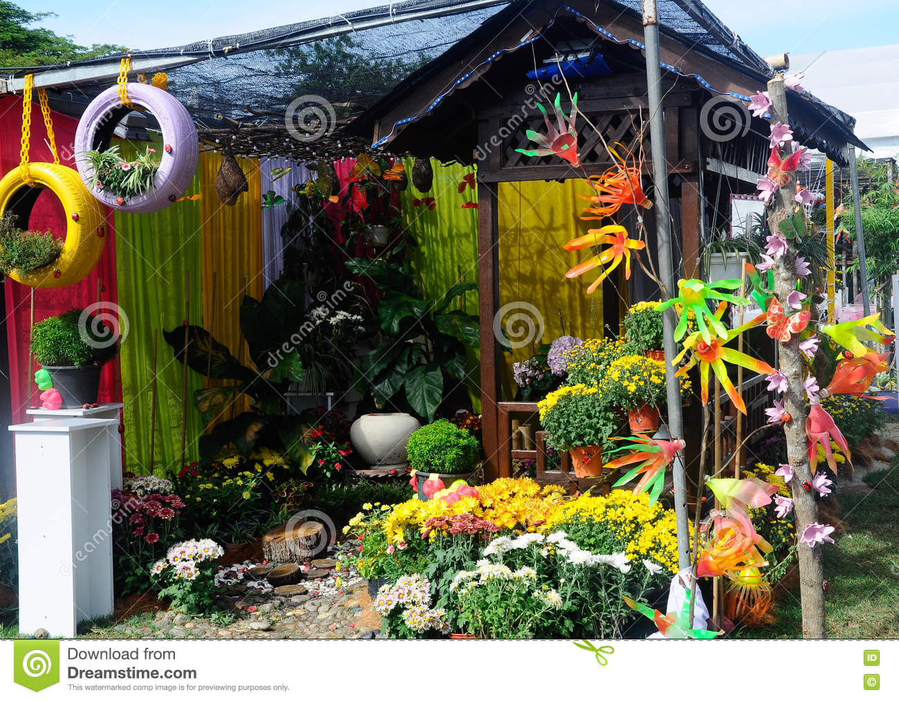 Small Pocket Garden Made From Mix Of Recycle Material And