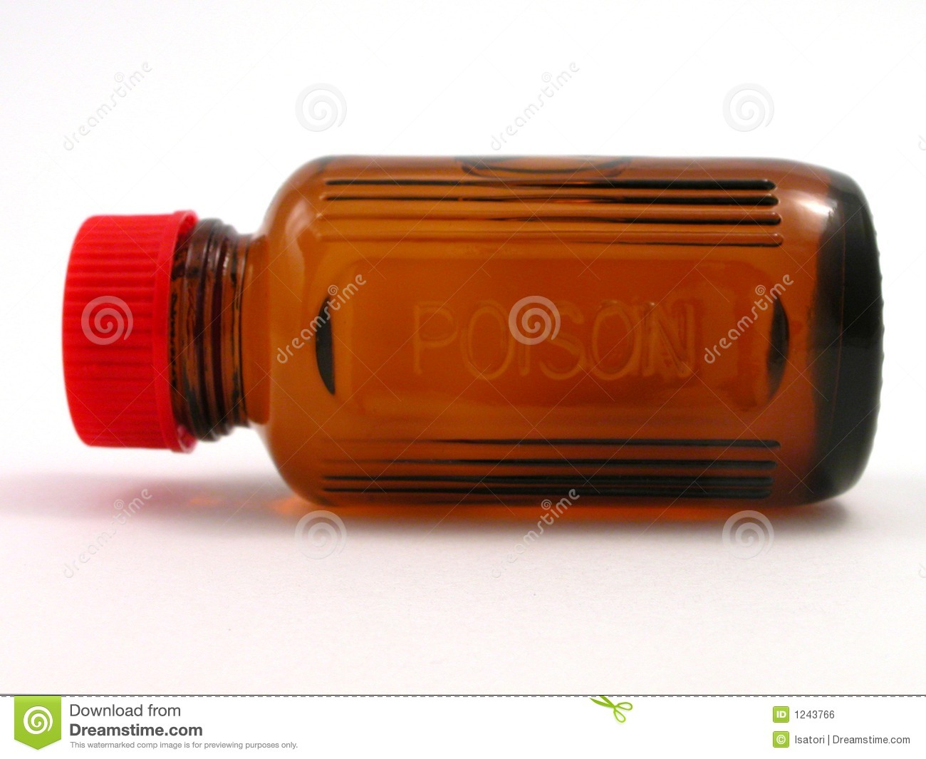 Small Poison Bottle With Red Cap Royalty Free Stock Image - Image ...