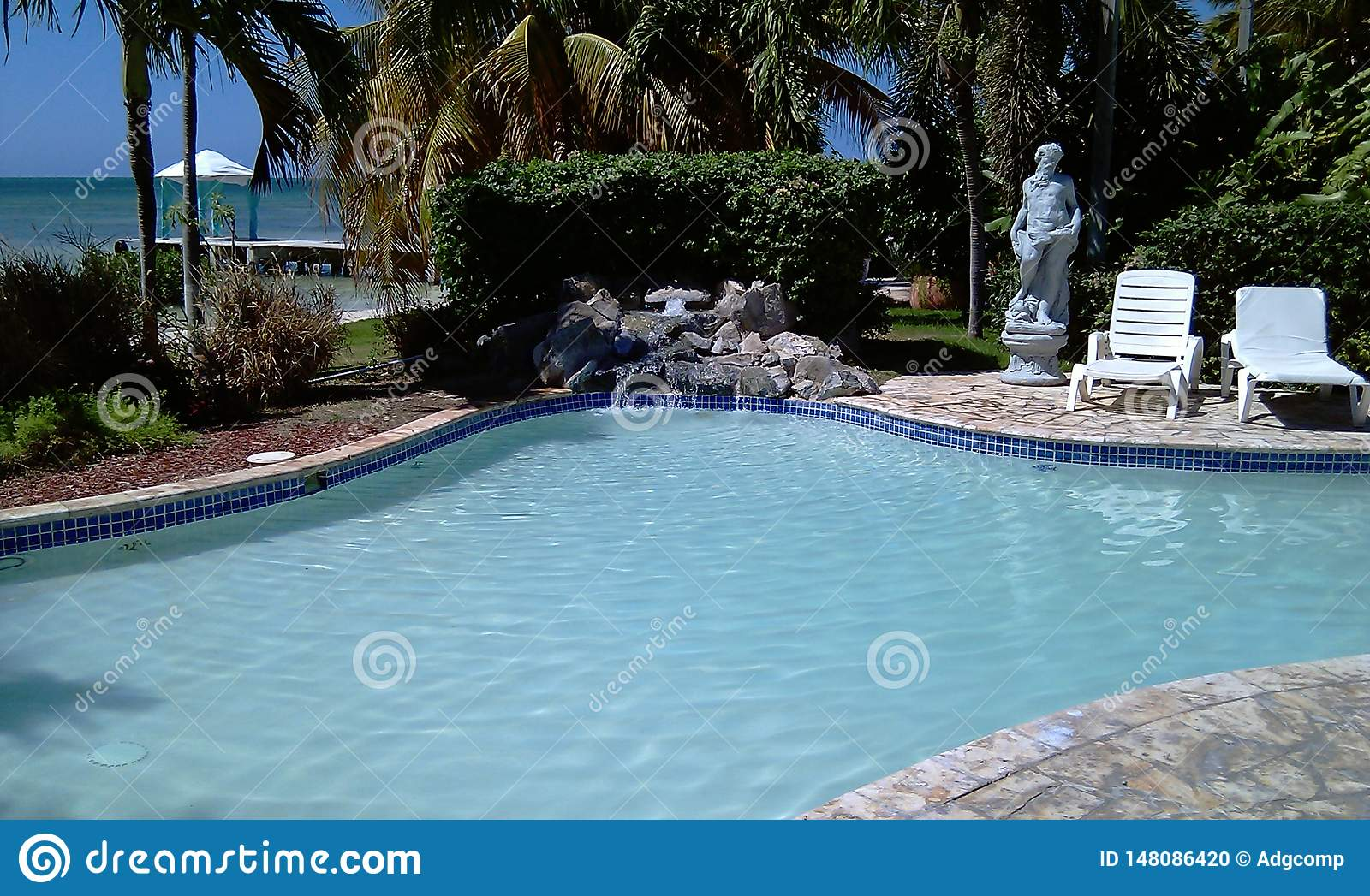 A small pool and massage areas
