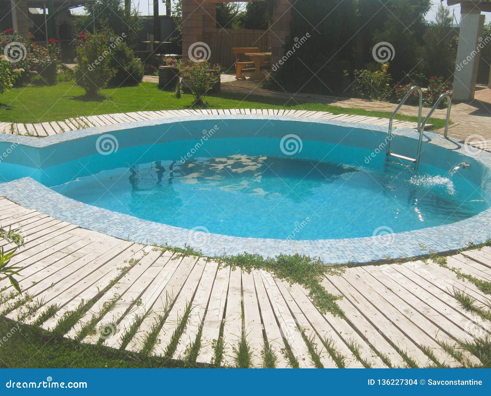 Small Pool And Summer Garden House Stock Photo Image Of Idyllic Modern 136227304
