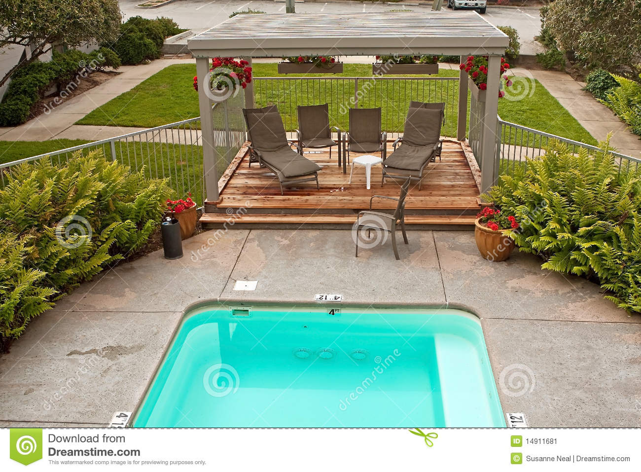 Small Pool And Wood Deck And Greenery Stock Image Image Of Cover Geraniums 14911681