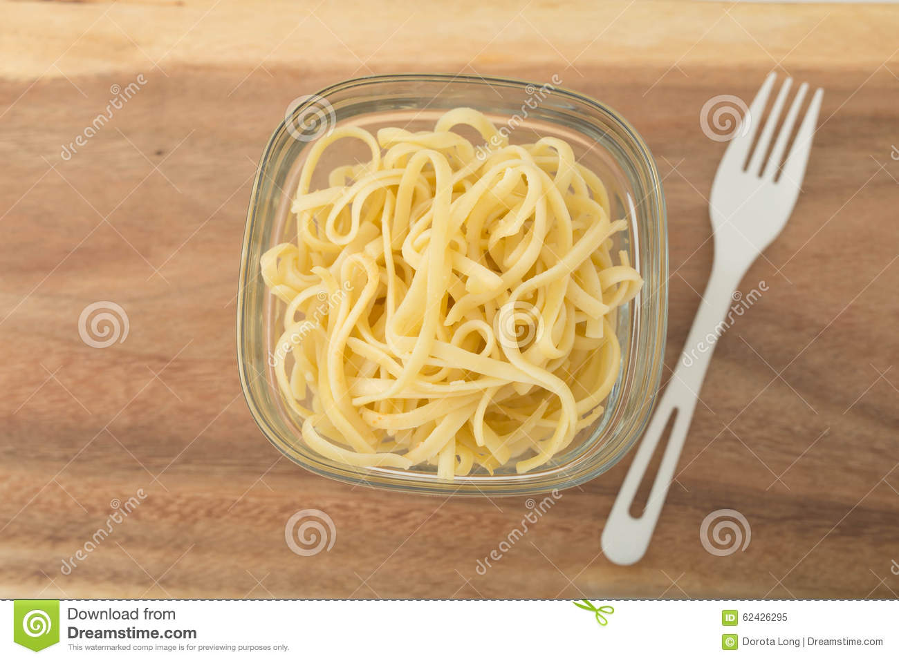 A Small Portion Of Linguini Pasta In A Glass Stock Image Image of
