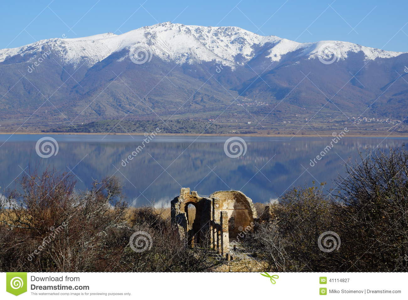 Small Prespa Lake, Agios Achillios island, the ruins of St. Achillius, Greece