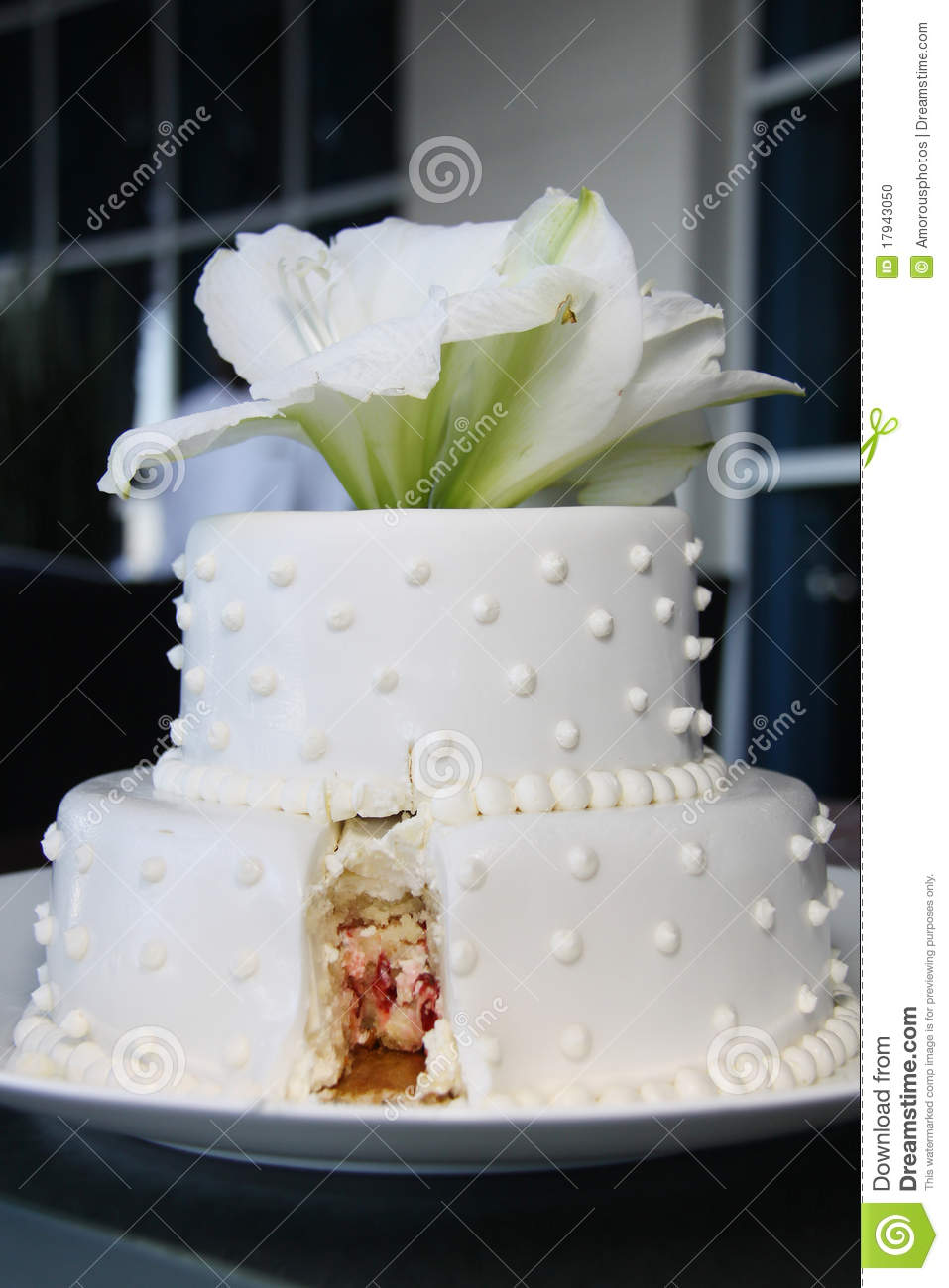 Small Pretty Wedding Cake Modern Cut Stock Photo Image