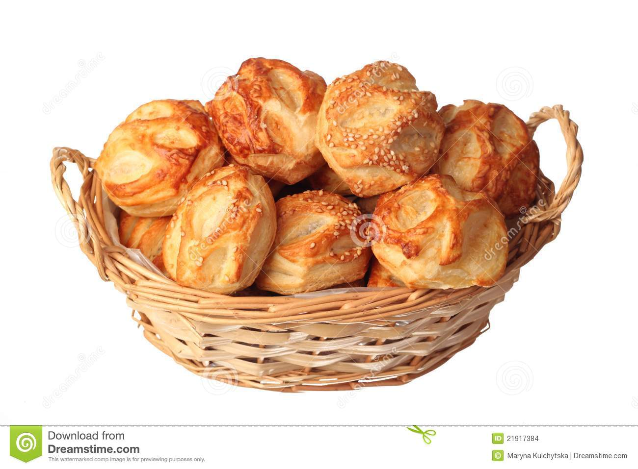 Small Puff Pastries In A Basket Stock Photo Image Of
