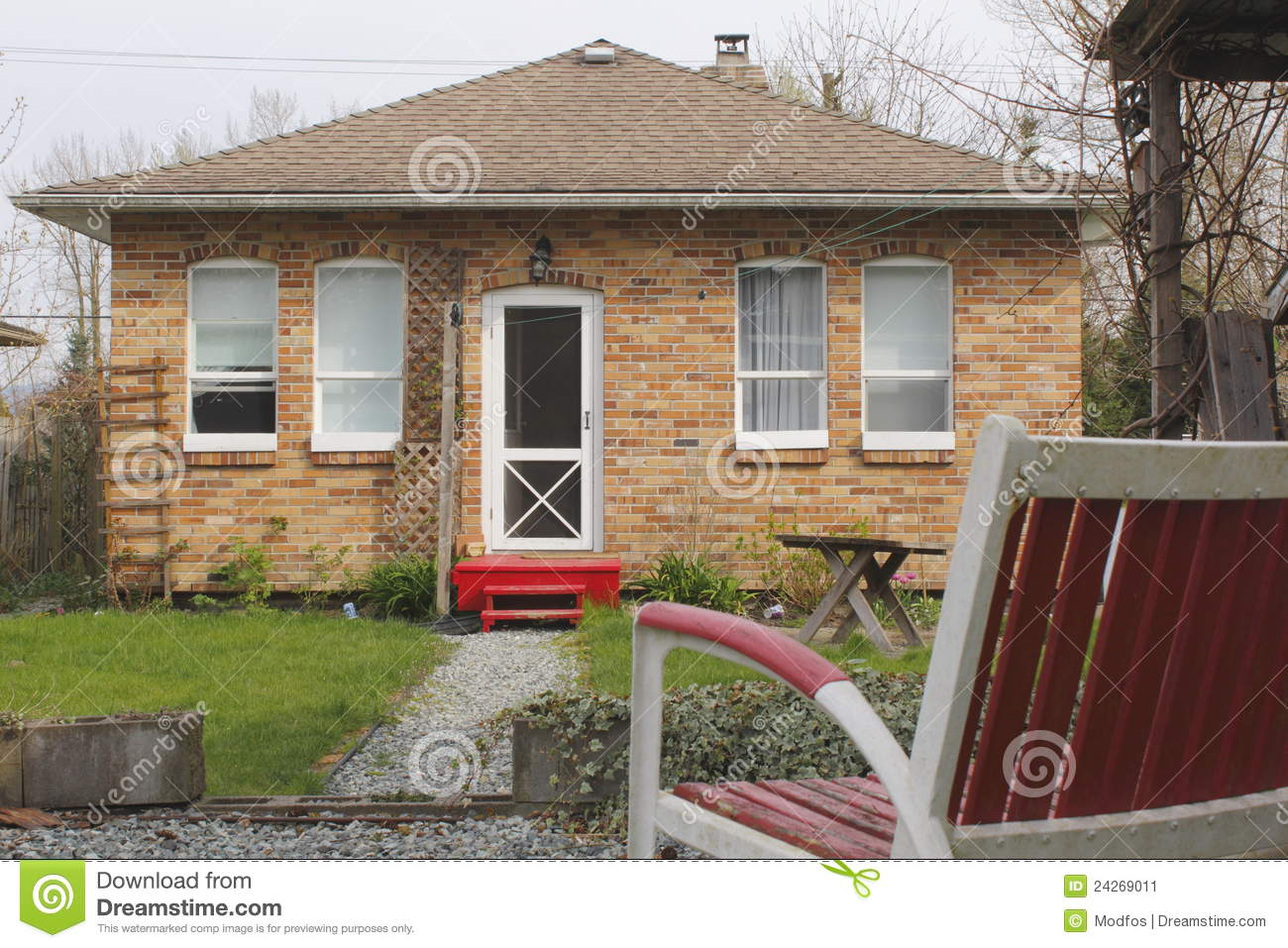 A Small Red Brick House Stock Image Image 24269011