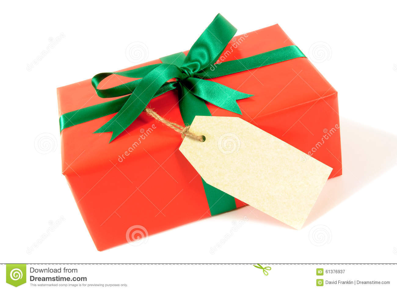 Red Christmas Or Birthday Gift With Green Ribbon Bow Tag Label Isolated On White Background