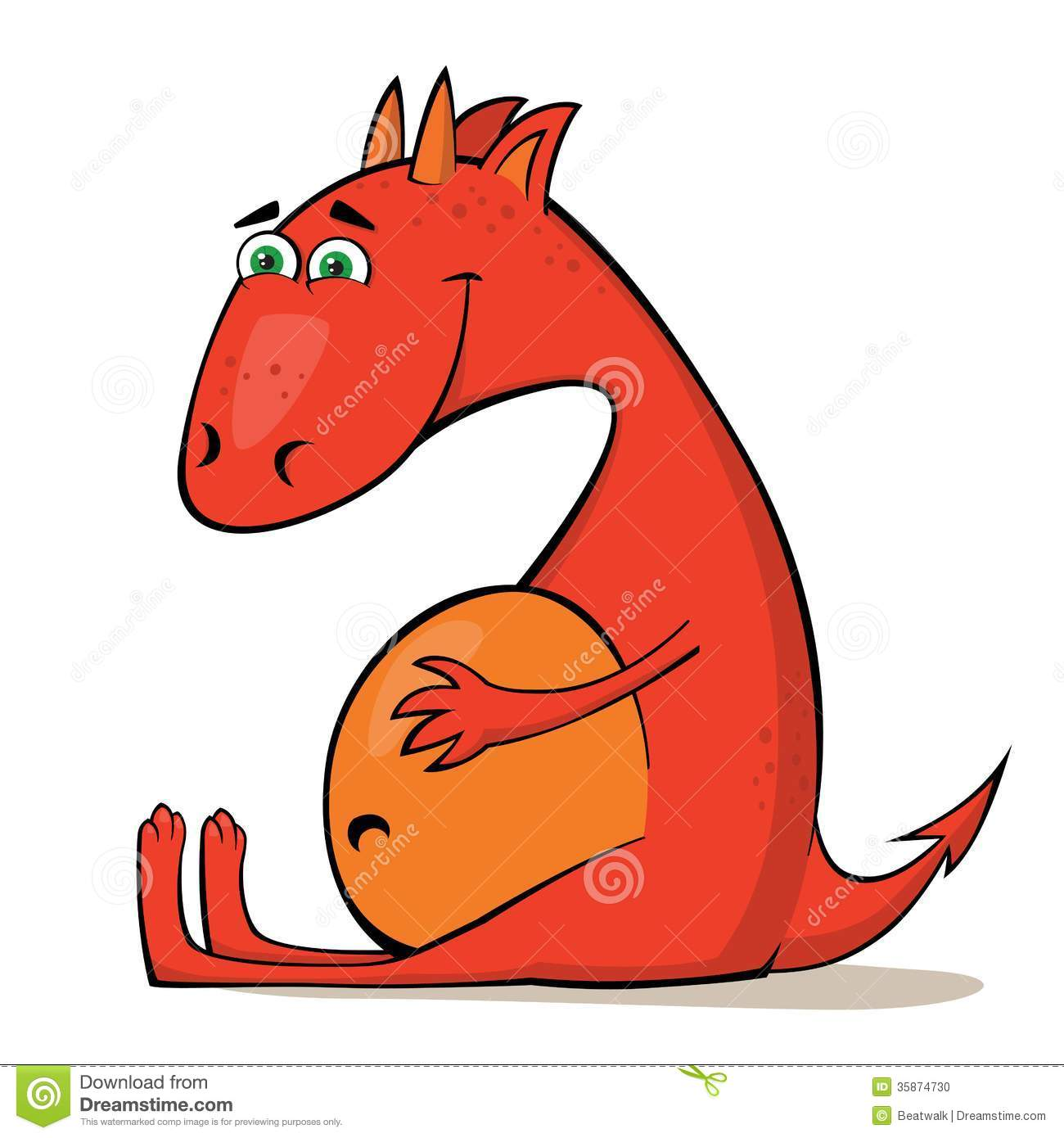 Stock Photo Small Red Dragon Happy Little Resting Cartoon Vector Illustration Image35874730